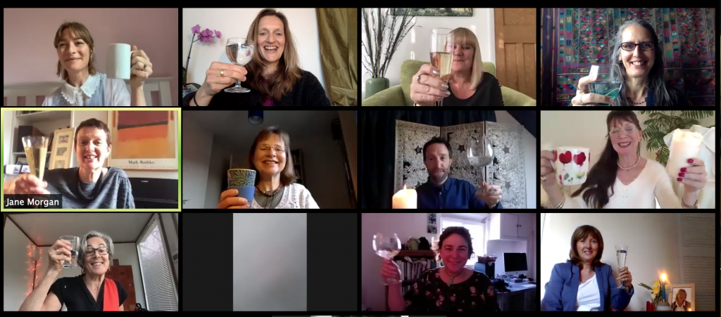 raising a toast image of online funeral
